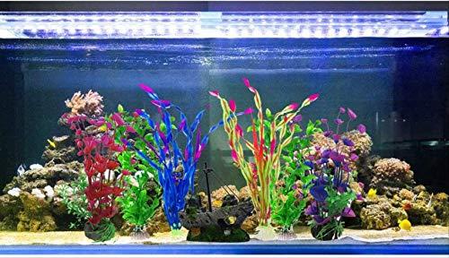 BEARUN Künstliche Wasserpflanzen, Aquarienpflanzen, künstliche Fischtanks, dekoriert mit Harz und Plastikornamenten, künstliche Plastikpflanzen des Aquariums zur Dekoration der Aquarienlandschaft - 6