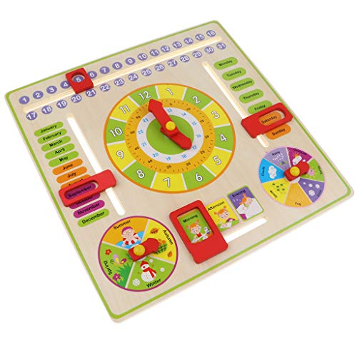 lahomia Tablero de Madera del Reloj de Juguete Inteligente de Aprendizaje Temprano