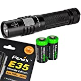 2016 Fenix E35 Ultimate Edition (E35UE) 1000 Lumen CREE XM-L2 U2 LED Flashlight with Two EdisonBright CR123A Lithium Batteries