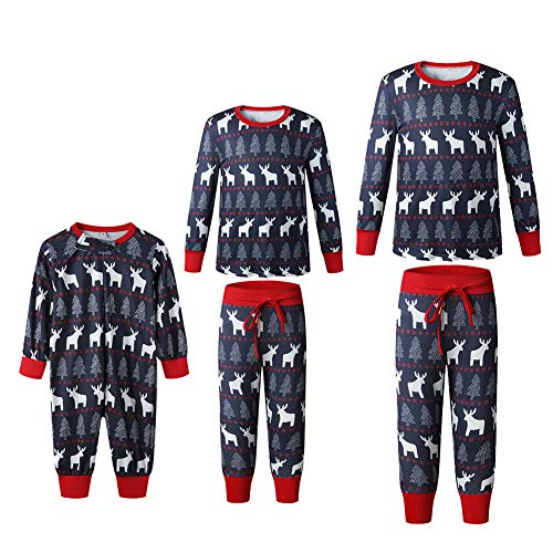 HEWYHAT Weihnachten Familienpyjamas Set, Männer Frauen Kinder Pullover Langarm Langarm Nachthemd Nachtwäsche mit Hirsch Motiven,Kids,5XL