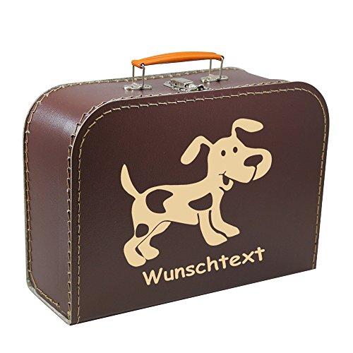 Kinderkoffer 40 cm braun mit Hund beige und Wunschname, Malkoffer Spielzeugkoffer Spielkoffer Pappkoffer