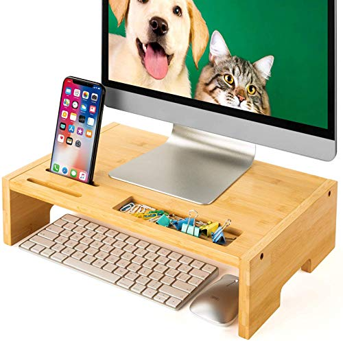 Amada 16 inch Computer Monitor Riser Stand - Bamboo Desk & Tabletop Organizer for Home and Office Monitor Mount Computer Laptop Cellphone Printer Stand-AMBMS03