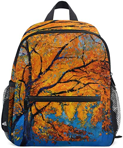 NB UUD Mini Backpack Oil Painting Tree Pattern Daily Backpack for Travel
