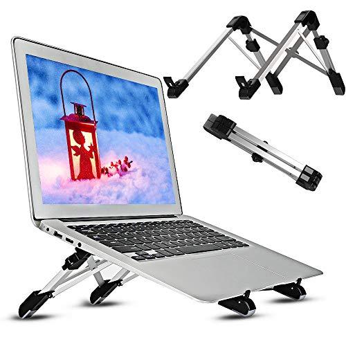 DAMIGRAM Supporto per PC Laptop, Portatile Angolazione Regolabile Pieghevole Supporto Ergonomico e Leggero Alluminio Laptop Stand per MacBook/Laptop/Notebook/Tablet (Nero)