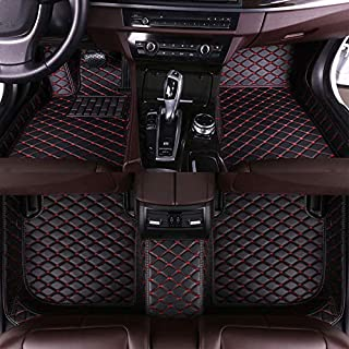 Leather Floor Mats Fit for 2017-2019 Audi A5 Convertible Full Protection Car Accessories Black & Red 3 Piece Set