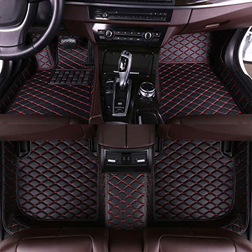 Muchkey Auto Fussmatten Fußmatten Set für BMW 5er 520i 523i 528i 535i 550i F10 F11 Sedan 4 Türen 2014-2016 Allwetter Matte Wasserdicht Automatten Zubehör Schwarz & Rot 1 Set