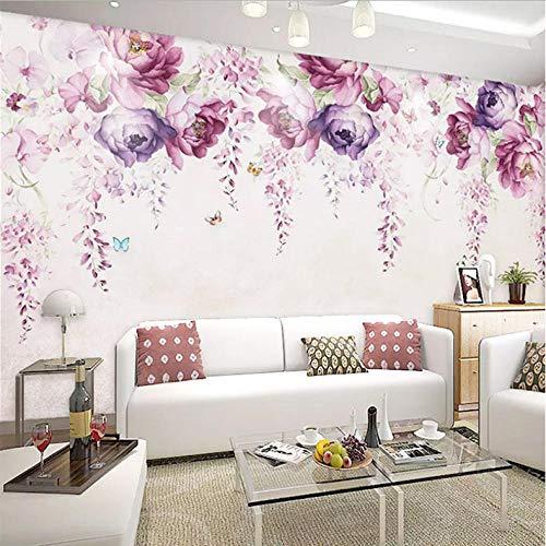 Pbbzl 3D-behang, modern, eenvoudig, handbeschilderd, violet, pioenrozen, bloemen, fotobehang, muurschildering, woonkamer, tv, sofa, canvas, wand, schilderen, decoratie 250 x 175 cm.