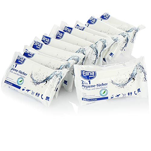 Elina med 150x Hygiene-Tücher - Reinigungstücher für Hände und Oberflächen - 2-in-1 Hygienetücher mit Aloe Vera für zu Hause & unterwegs - Feuchttücher