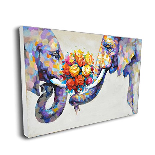 Pinetree Art Elephant Artwork Canvas Wall Art Painting Elephant Wall Decor for Home Decoration (36 x 24 inch, Framed)