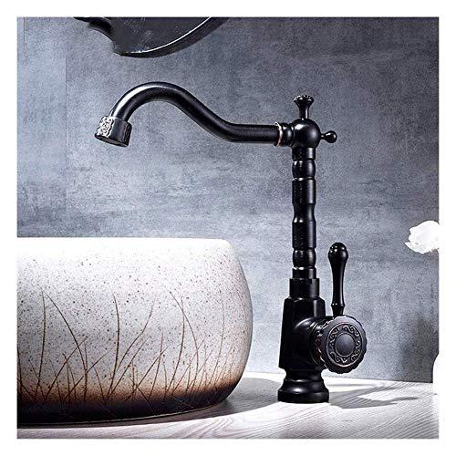 SENWEI Grifo de Lavabo Grifo de baño Grifos de baño de Cobre Antiguo Grifos de Lavabo Latón Aceite Frotado Bronce Grifo de Lavabo Negro Baño Grifo de Agua Caliente fría Mxier