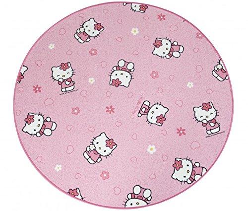 Kinderteppich Hello Kitty rund - Farbe: Pink | Spielteppich schadstoffgeprüft pflegeleicht schmutzabweisend robust strapazierfähig Kinderzimmer Spielzimmer Kids Fun , Farbe:Pink, Größe:80 cm rund