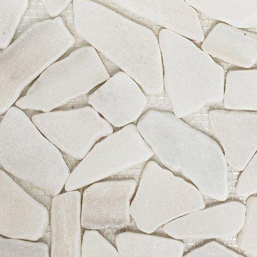 Mosaik-Netzwerk Bruch/Ciot uni weiß Marmor Naturstein Küche, Mosaikstein Format: 15-69x8 mm, Bogengröße: 60 x 100 mm, 1 Handmuster ca. 6x10 cm