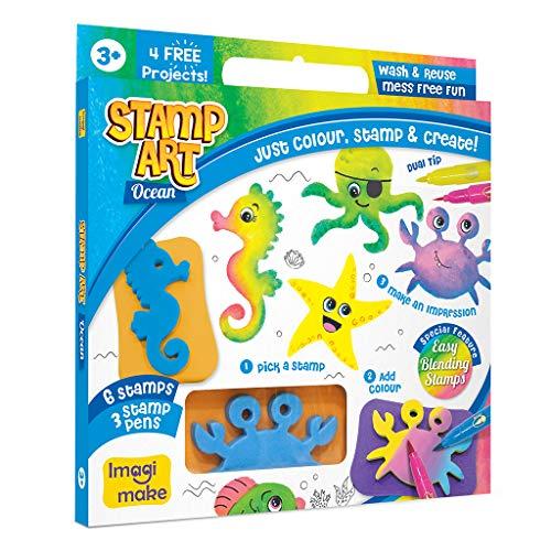 Imagimake Stamp Art Ocean – Coloring & Stamping Set – for Girls & Boys 3 Years +, Multicolor