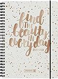 "BRUNNEN 1072150171 ""Gold Glitter"", Wochenkalender/Schülerkalender 2020/2021, 2 Seiten = 1 Woche , Blattgröße 14,8 x 21 cm , A5 , PP-Einband"