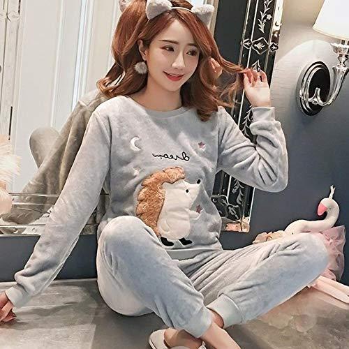 Conjunto Pijama Mujer,Señoras Cálidas Supersoft Elegantes Camisones Erizo Azul Tops De Manga Larga Pantalones Cozy Elegante Ropa De Dormir Regalo Homewear Christmas Loungewear, XL