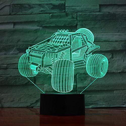 HLDWMX 3D Illusion Lamp Christmas Gift Night Light Table Lamp, ATV 16 Colors Auto Changing Touch Switch Desk Decoration Lamps Birthday Gift with Acrylic Flat & ABS Base & USB Cable