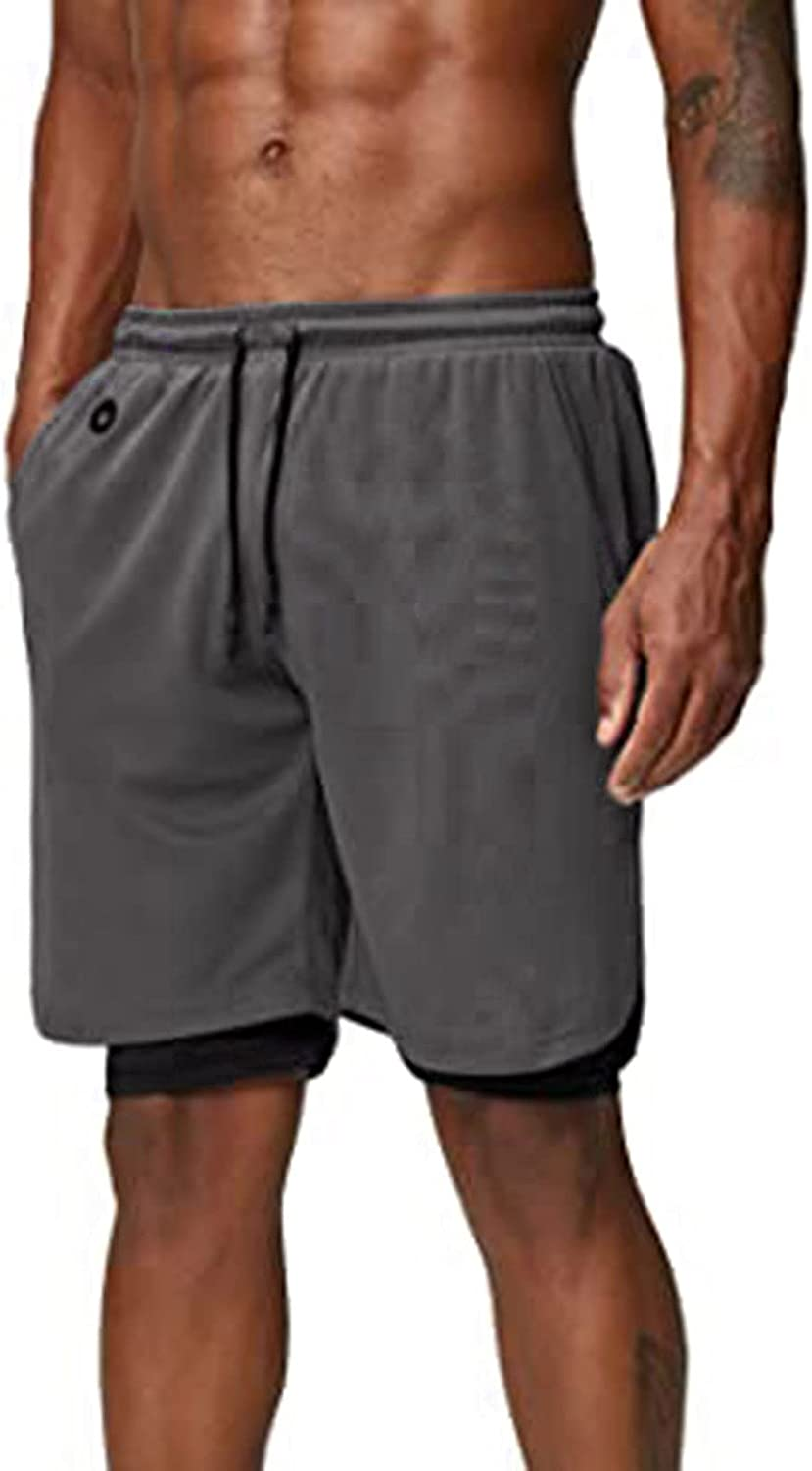 XUETON Athletic Workout Shorts for Men, 2-in-1 Stealth Quick Dry Mesh Gym Training Running Shorts with Pockets