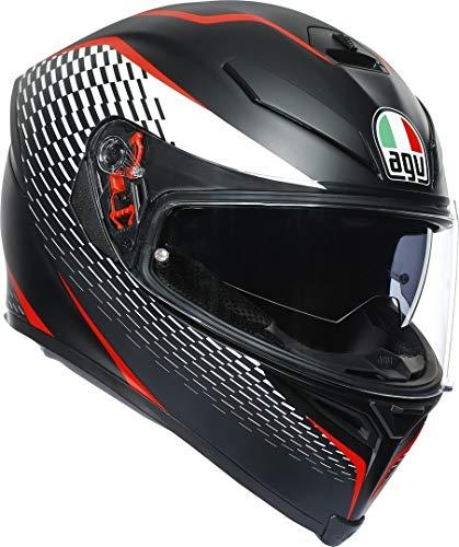 AGV Herren K5 S Motorradhelm, Thunder MATT Black/White/RED, XL