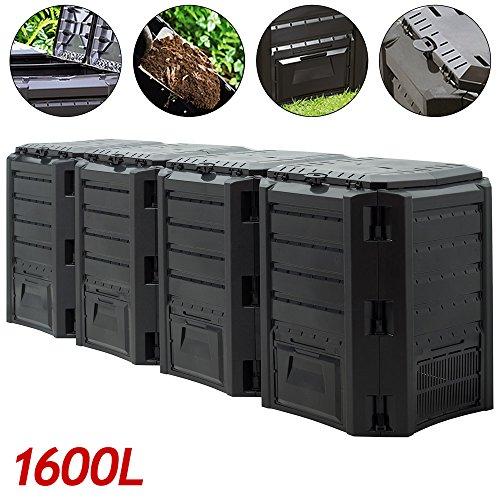 Komposter 1600L 261 x 72 x 83cm witterungsbeständig Deckel klappbar Gartenkomposter Thermokomposter Schnellkomposter