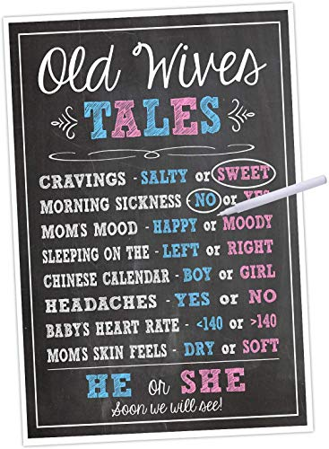 Katie Doodle Baby Gender Reveal Party Supplies Decorations Games Kit for Boy or Girl Shower   Includes Old Wives Tales 11x17 Poster and Earasable Marker (GR001), Black/Blue/Pink