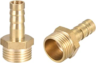 uxcell Brass Hose Barb Fitting,Connector,8mm Barb x G3/8 Male Pipe Adapter,2pcs