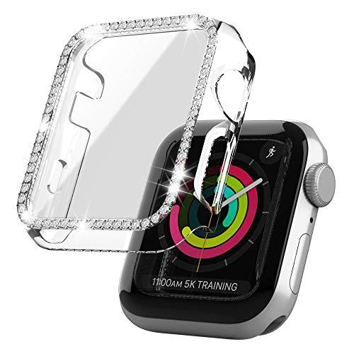 Dilhvy Bling Schutzhülle Kompatibel für Apple Watch Series 3/2/1 38mm Hülle Mit PMMA Displayschutz 38mm,Strass Glitzer Hard PC Gehäuse Stoßfest Kratzfest Bling Diamant Case für iWatch (38mm, Klar)