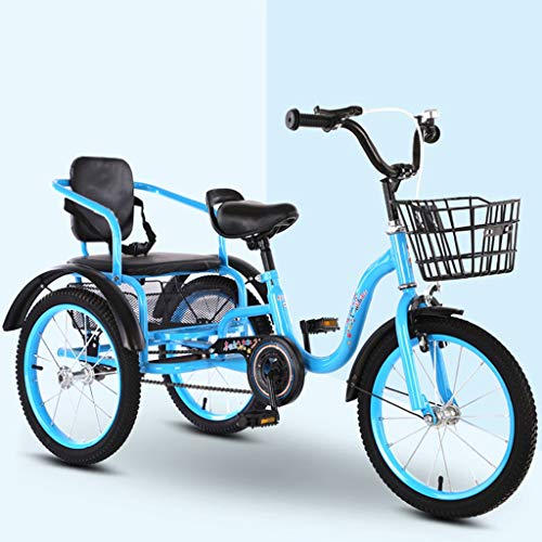 Niños Triciclo Pedales con Cestas, Sillas De Montar Cómodas, 18 Bici Plegable Pulgadas 2-12 Montar A Caballo De Año Crucero Vieja Double Niños Trikes For Niños, Bicicleta 3 Ruedas