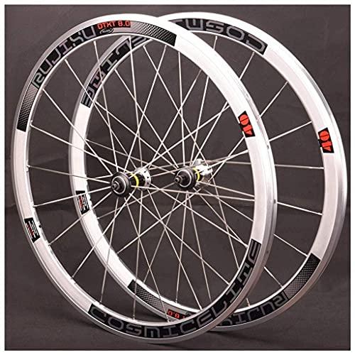 Juego de Ruedas de Bicicleta de Carretera 700c Llantas de Doble Pared 40 mm Freno de llanta 7 Pegatinas de Colores Rueda de Bicicleta CX Cubos de rodamientos sellados QR 7-12 velocidades