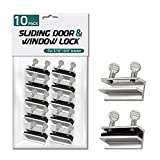 """Lion Locks Sliding Window and Door Locks (10 Pack), Adjustable Aluminum Security Screw Lock for 3/16-3/8"""" Track, Door Stopper Safety Lock, No-Drill Install, Requires 28-36mm Clearance for Screw Lock"""