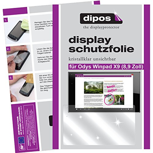 dipos I 2X Schutzfolie klar kompatibel mit Odys Winpad X9 22,6 cm (8,9 Zoll) Folie Bildschirmschutzfolie
