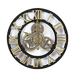Adeco Clock 3D Retro Rustic Vintage Wooden Gear Noiseless Wall Clock, Wooden Decoration Roman Numerals-Gold, 15X15