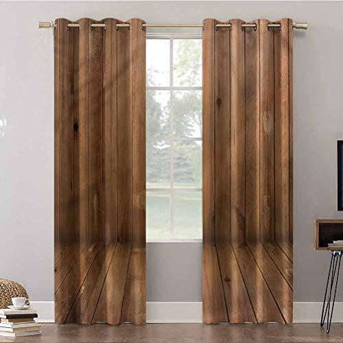 Aishare Store - Cortinas de dormitorio, 274 cm de largo, aisladas térmicamente, paneles opacos, color camello, tablones de madera interior, cortinas opacas para dormitorio de niños (2 paneles)