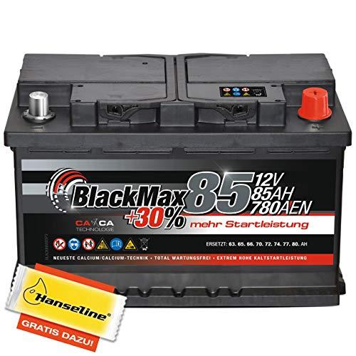 Autobatterie 12V 85 Ah 780 A/EN BlackMax PKW Batterie statt 74 75 80 Ah inklusive Polfett
