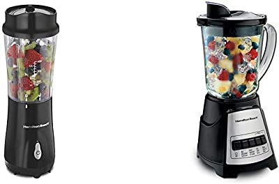 Hamilton Beach Personal Blender with 14oz Travel Cup and Lid, Black & Power Elite Blender with 12 Functions for Puree, Ice Crush, Shakes and Smoothies and 40oz Glass Jar, Black and Stainless Steel