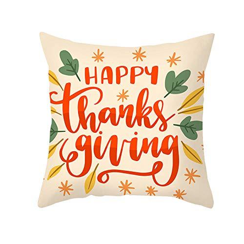 xxLvOG 2Pcs yellow Thanksgiving pillowcase, cartoon animal sofa cushion cover, peach skin office cushion cover-A16