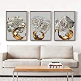 WZRY Art - Cuadro impreso sobre lienzo, diseño de rosas doradas y flores blancas para niña, dormitorio o pared, decoración en casa sin marco, 30 x 40 cm x 3 cm