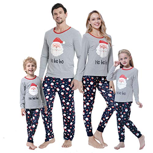 MyFav Christmas Pajamas Set Matching Family PJ's Santa Claus Printed Sleepwear for Boys and Girls,Santa Claus,Women-XL