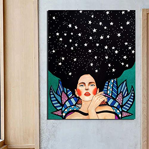 KWzEQ Cartel nórdico Smart Girl Wallpaper Lienzo Pintura impresión Sala de Estar Moderna decoración del hogar,Pintura sin Marco,60x75cm