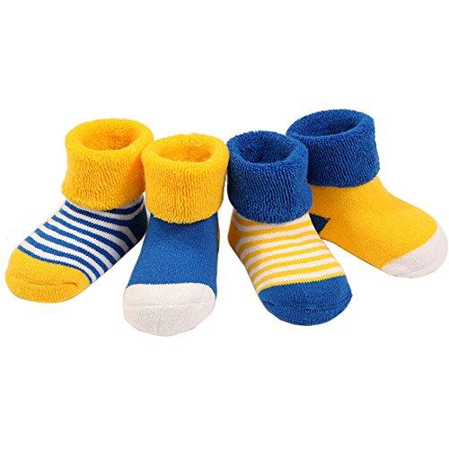 Butterme Lot de 5 Paires de Chaussettes pour bébé garçon Chaussettes de Coton Chaussettes épaisses Chaussettes de Chaussettes pour Enfant rayées à Pois