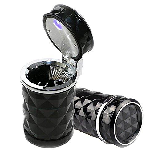 Big Ant Aschenbecher Auto Handliche Aschenbecher mit blauer LED-Licht, Auto Aschenbecher Zigarette Aschenbecher für Auto,Haus,Büro (Schwarz)