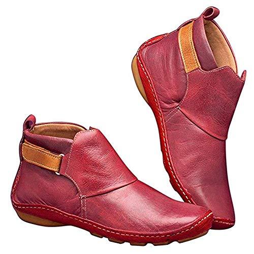 Platte laarzen van PU-leer, handgemaakt, retrolaarzen met vlakke hak, modieus, met platte bodem, voor dames, warm en naakt (37-41), maat