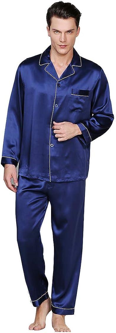 Pigiama di seta uomo 100% seta baco da seta pantaloni a maniche lunghe primavera estate autunno inverno sztb B08767TFZV