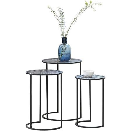 LIFA LIVING Lot de 3 Table Basse gigogne, Table Basse de Salon, Petite Table Scandinave en métal Noir, Capacité Max de 2.3Kg, 25x25x40cm 30x30x45cm 35x35x50cm