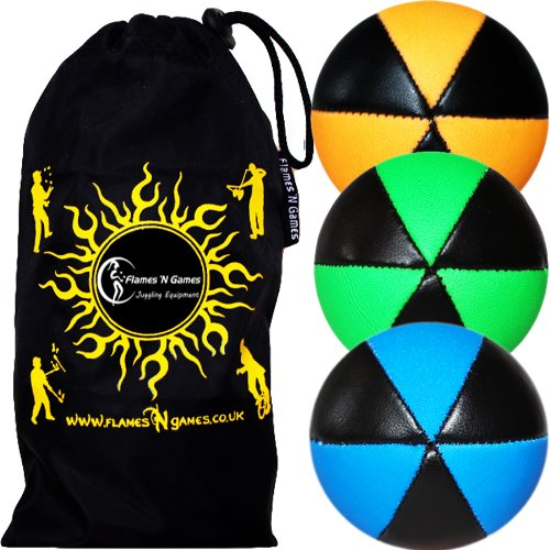 3X Astrix UV Balles de Jonglage en Cuir Super Durable (Leather) Pro Jonglerie Beanbag Jonglage Balles + Sac de Transport. (Orange/Vert/Bleu)