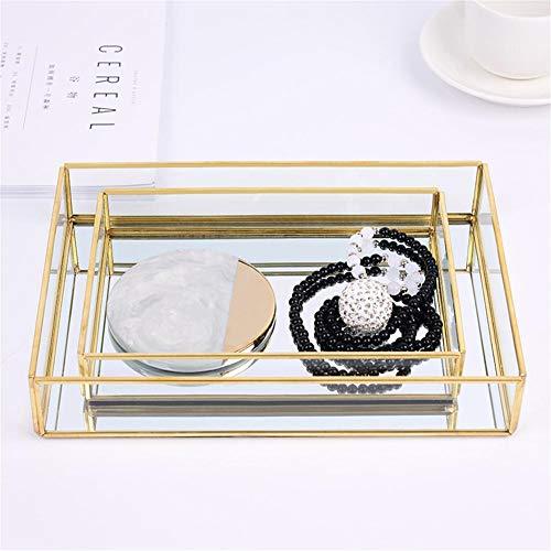 kati-way Plaque Rangement Maquillage Parfum, Présentoir Bijoux en Verre Transparent Produits de Beauté Décoration Magnifique pour Commode Toilette Salle de Bain Ideal Cadeau Femme (1pc)