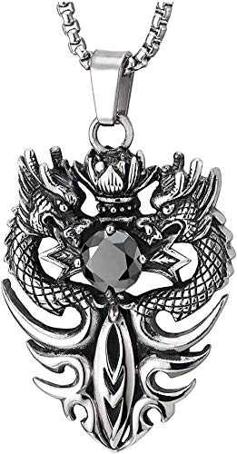 NC110 Colgante de Medalla de dragón Lotus con circonita Negra Collar de Acero Inoxidable para Hombre Collar de Fiesta Salvaje clásico único YUAHJIGE