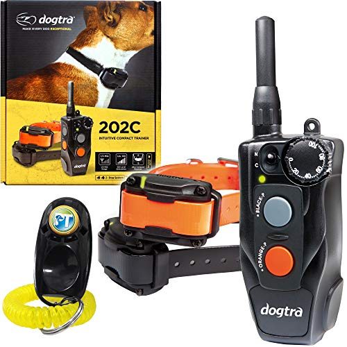 Dogtra 202C 2-Dogs Remote Training Collar - 1/2 Mile Range, Waterproof, Rechargeable, 100 Training Levels, Vibration - Includes PetsTEK Dog Training Clicker