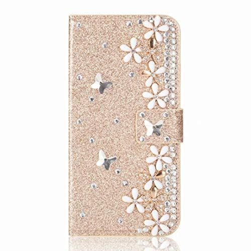 Funda para Xiaomi Redmi 9A, Bling Gems Diamond PU Cuero Flip Wallet Case Case Brillante Crystal Rhinestone Cover con Hebilla Magnética Flor Ranura para Tarjeta para Xiaomi Redmi 9A Dorado
