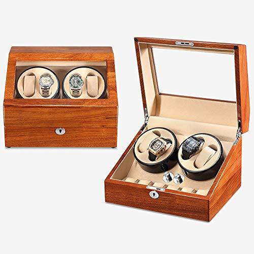 Caja Giratoria para Relojes Mira enrolladores para 4 Relojes 6 Relojes con Almohadas de Cuero Motor silencioso 5 Modos de rotación Caja de Almacenamiento de Reloj (Color : Beige)