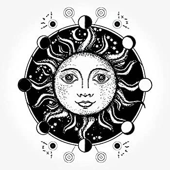 Moon Six Sheets Temporary Tattoos for Women Adults Medieval Sun Art Moon Phases Sacred Geometry Alchemical Symbo Temporary tattoo for Men for Woman Neck Arm 3.7 X 3.7 Inch